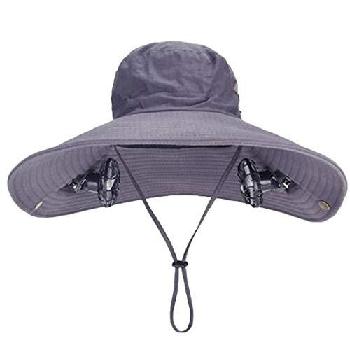 ANHPI Doble Solar Sombrero del Ventilador Masculino Verano al Aire Libre Protector Solar Anti-Ultravioleta Grandes Aleros Respirable Sombra Tapa de Pescador Casquillo de los Deportes, 4 Colores