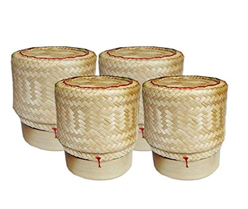 Sticky Rice Basket -Kratip Size 3 Inches (Pack of 4) Thailand Handmade Bamboo Rice Container