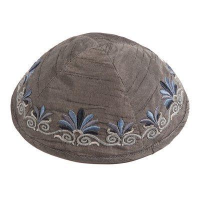 Yair Emanuel Kippah Yarmulkes & Yemenite Hat Judaica Embroidered Kippah Flowers Gray (Bundle)