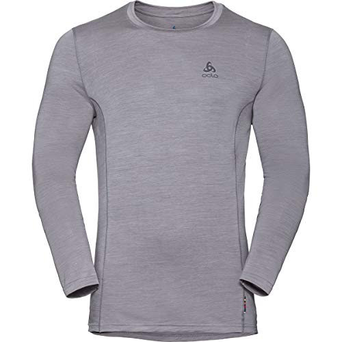 Odlo BL Top Crew Neck l/s Merino 130 T-Shirt Mens, Grey Melange, S