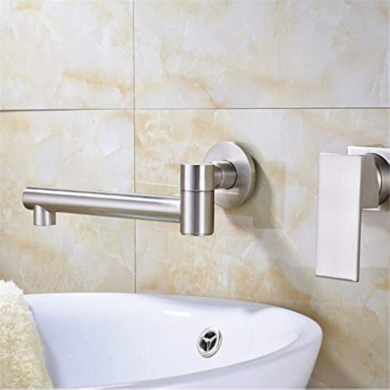 Waschtischarmatur Für Bad Waschbecken Waschbecken Wasserhahn An Der Wand Montiert Einzigen Griff Mischbatterien Dual Loch Mit Heiem Und Kaltem Wasser