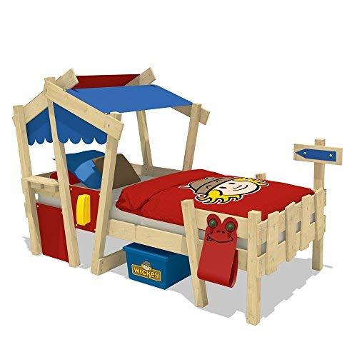 WICKEY Lit enfant CrAzY Candy Lit de jeux 90x200 pour enfant avec sommier à lattes, rouge-bleu