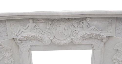 Kaminfassade Motiv Putten Marmor weiss Kaminverkleidung Stilkamin Umrandung Kaminumrandungen