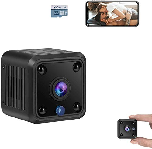TeamMe Mini Spy Camera, WiFi Wireless Hidden Camera, HM206 UG 1080P HD Small Home Security Camera with 32G Storage Card, Night Vision, Motion Detection, Rechargeable Tiny Nanny Cam for Indoor Outdoor
