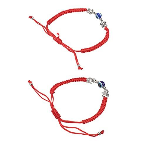 Holibanna 2 Piezas de Pulsera de Cadena Roja China de La Suerte Hecha a Mano Cuerda Roja Trenzada par Pulsera Brazalete de Muñeca Cadena Ajustable con Cuentas de Mal de Ojo para Amantes