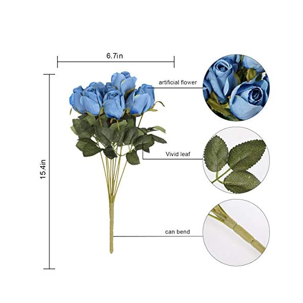 Hawesome 3 racimos de Flores Artificiales de Seda, brotes de Rosas realistas, arreglo para decoración de Bodas, Fiestas…
