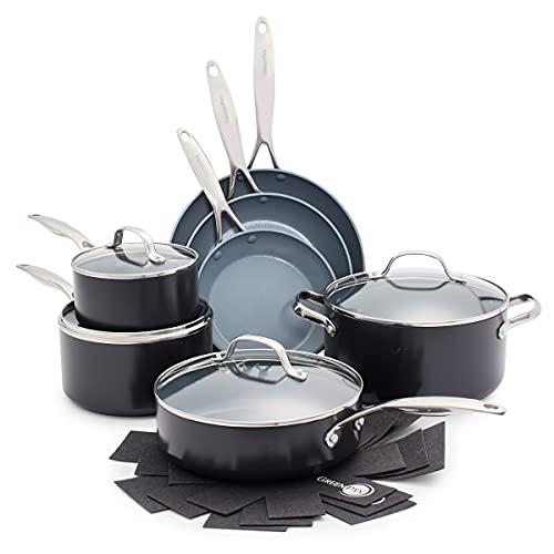 GreenPan Batterie de cuisine - Revêtement Antiadhésif Sain en Céramique, pour Induction/Four/Lave-vaisselle, 14 pièces, Valencia