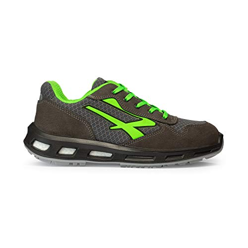 U-Power RL20036 RedLion Point S1P SRC - Scarpe antinfortunistiche con suola Infinergy, Puntale in alluminio, Grigio/Verde, 42 EU