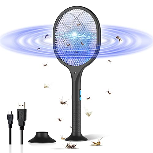 BOYON Bug Zapper Mosquito Killer Electric Fly Swatter, Rechargeable Mosquitoes Lamp & Racket 2 in 1 Handheld Fly Zapper for Home and Outdoor Safe to Touch with 3-Layer Safety Mesh (Black)