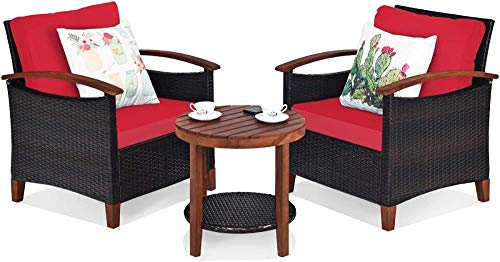 YRRA 3 Stück Terrasse Möbel Set Outdoor Rattan Sofa und Beistelltisch W/Massivholz Ruhm hohe Lastlagergespräch Bistro Set mit Kissen (Beige)-rot