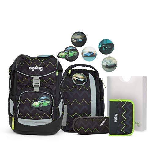 Ergobag Pack Drunter und DrüBär - Schwarz, ergonomischer Schulrucksack, Set 6-teilig, 20 Liter, 1.100 g, Schwarz