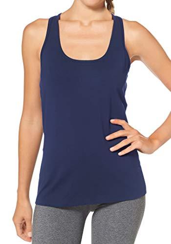H HIAMIGOS Damen Sporttop Yoga Tanktop Unterhemd Ringerrücken Workout Laufen Fitness Funktions Shirt aus Feinripp mit Rundhals 1er-Pack, S, blau