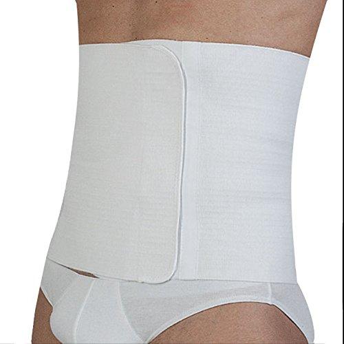 ComfortMed Faja lumbar unisex de algodón, banda elástica postoperatoria y postparto, faja abdominal y lumbar para dar calor, regulable, con cierre de velcro (blanca, talla 7)