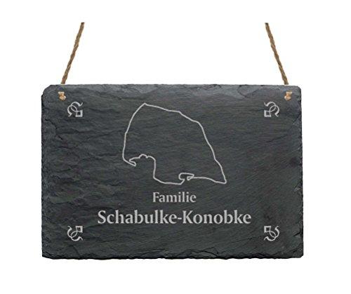 Schiefertafel « Familie -IHR NAME- » mit INSEL FEHMARN Motiv - 22 x 16 cm - Türschild aus Schiefer Ostsee Strandkorb