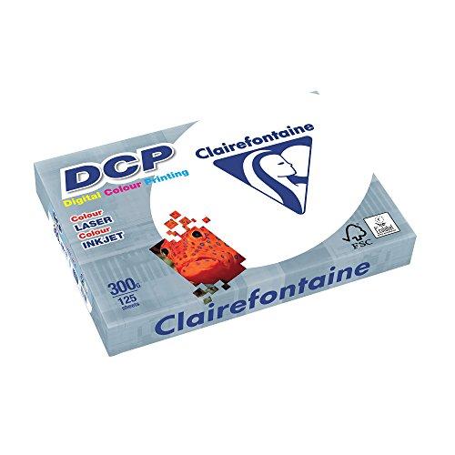 Clairefontaine 3801C Druckerpapier DCP Premium Kopierpapier für farbintensiven Bilderdruck, DIN A4, 21 x 29,7cm, 300g, 1 Ries mit 125 Blatt, Weiß