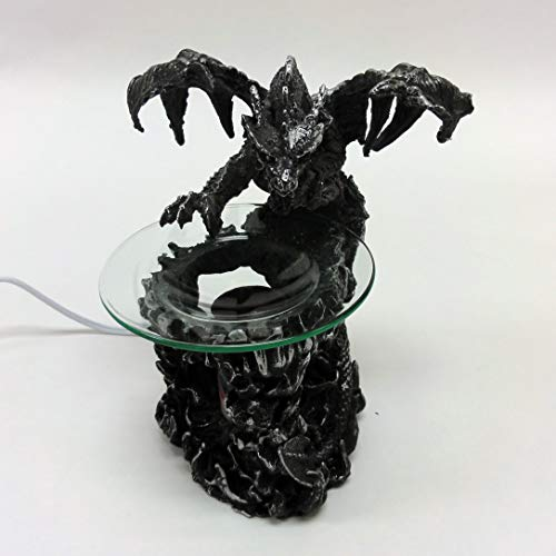 Specialitem Electric Black Dragon Oil Warmer - Polyresin Black Dragons on Mountain - Candle Burner - Illuminating Lights Oil Warmer Wax Melt Fragrance Lamp