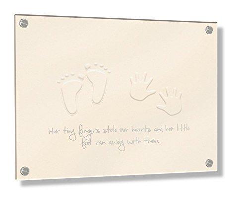 Feel Good Art Mural Cadre en acrylique 3D avec boulons Confrontation (20 x 30 x 0,6 cm, petit, crème, ses petits pieds Stole nos cœurs)