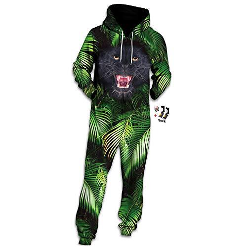Morbuy Herren Jumpsuit Jogger, Unisex Herren Kapuzenpullover Strampelanzug 3D Printed Onepiece Sweatshirt Männer Strampler Weich Nachtwäsche Fitness Bekleidung (M, Dschungel-Leopard)