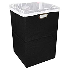 Freegrace Foldable Large Laundry Hamper with Laundry Bag – Premium Durable Non-Woven Fabric, Anti-Mold Plastic Board, Extra-Large Size, Space-Saving & Compact Clothes Basket with Metal Handles