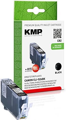 KMP Tintenpatrone Kompatibel mit Canon CLI526BK Schwarz für Canon PIXMA iP4850/iP4950/iX6550/MG5150/MG5250/MG5300/MG5350/MG6150/MG6250/MG8150/MG8250/MX715/MX885/MX895
