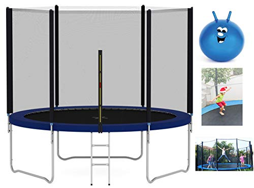 mcc direct Heavy Duty Trampoline 6FT 8FT 10FT 12FT 14FT Outdoor Trampoline with Enclosure Net for Kids Spring Cover Ladder FREE Space Hopper (10FT)