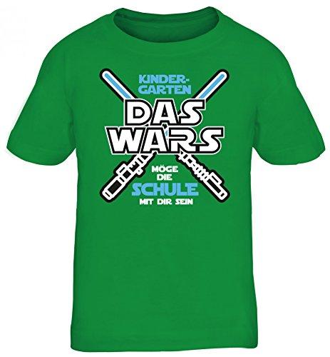 Einschulungsgeschenk Erstklässler Schulkind Kinder T-Shirt Laserschwert - Kindergarten Das Wars, Größe: 122/128,Kelly Green