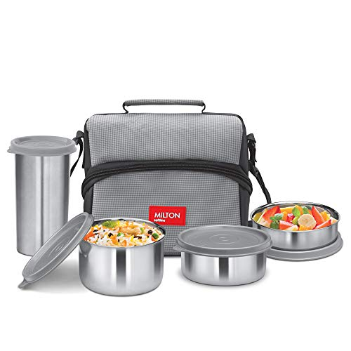 Milton Diet Combo Stainless Steel Lunch Box with Tumbler, 4 Pieces, Grey