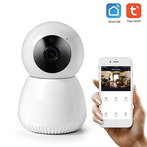 Draadloze camera, 1080P camera smart home camerawerk met Alexa en Google Assistant Night Vision, Two Way Audio, Smart Motion Tracking camera