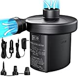 Electric Air Pump, Air Mattress Pump with 3 Nozzles, Dr.meter Battery Powered Portable Air Pump, 110-120V AC/12V DC Quick-Fill Inflator/Deflator for Outdoor Camping Inflatables Raft Bed Boat Pool Toy