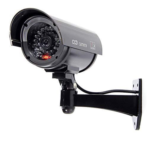 BW 1100B Cámara de Seguridad CCTV Falsa de imitación para Interiores y Exteriores con luz Intermitente Parpadeante, Forma de Bala, Color Negro