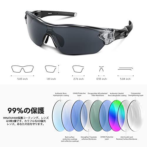 スポーツサングラス偏光レンズ自転車登山釣り野球ゴルフランニングドライブバイクテニススキー超軽量UV400TACTR90紫外線防止メンズレディースユニセックスサングラス安全清晰(グレー(透明))