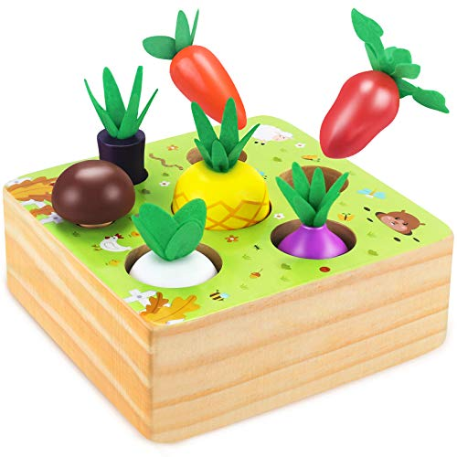 CENOVE Montessori Wooden Toys for Boys and Girls 1 2 3 Years Old,STEM Educational Toys of Shape Size Sorting Puzzle, Vegetables and Fruits Harvest Montessori Toy Gift for Toddlers Age 1-2