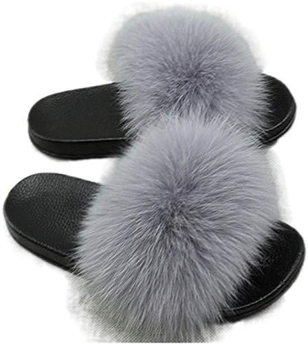 AONEGOLD Pantofole da Donna Ciabatte Pelliccia Sintetica Slippers Sandali con Punta Aperta Pantofole Pelose Fluffy Infradito