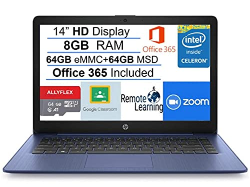 "2021 Newest HP Stream 14"" HD SVA Laptop Computer, Intel Celeron N4000 Processor, 8GB RAM, 128GB Space(64GB eMMC+64GB MSD), Office 365, HDMI, Bluetooth, Windows 10, Blue, AllyFlex MP, Online Class"