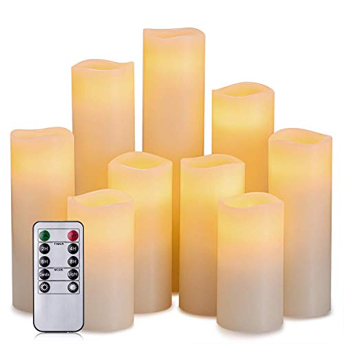 Hausware Flameless Candles Battery Operated Candles H 4' 5' 6' 7' 8' 9' Real Wax Pillar Flickering LED Candle with 10-Key Remote and Timer Control Set of 9 (Ivory Color)