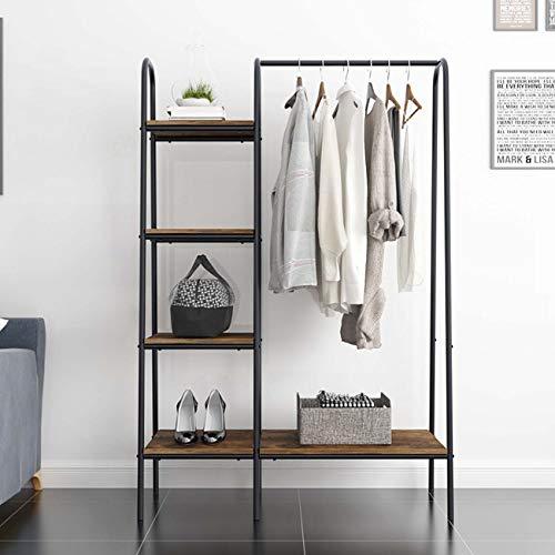 DlandHome Free-Standing Garment Racks, Home Metal Clothing Rack with 5 Storage Shelves and Hanging Rod Closet Storage Organizer Clothing Rack, UT-011