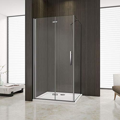 douchecabine 100x76x195cm met vaste zijpaneel, vouwdeur, douchedeur+zijwand, 6mm nano veiligheidsglas, vouwbare douchedeur,vaste douchewand en glazen draaideur
