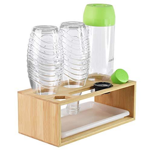 Flaschenhalter für SodaStream, Glasflaschen für Soda Stream Abtropfhalter Bambus, mit Abtropfschale und Pinsel, Geeignet für Eine Vielzahl von Flaschen, für z.B Soda Stream Crystal & Emil Flaschen
