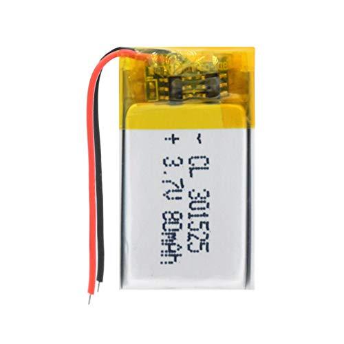 Grehod Batería de polímero de Litio de 3.7V 80mAh 301525, batería Recargable de polímero de Litio para Dispositivos portátiles Bluetooth