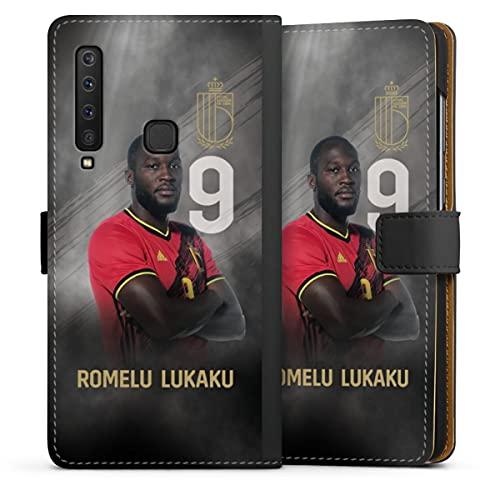 DeinDesign Klapphülle kompatibel mit Samsung Galaxy A9 (2018) Handyhülle aus Leder schwarz Flip Case RBFA Offizielles Lizenzprodukt Fußballer