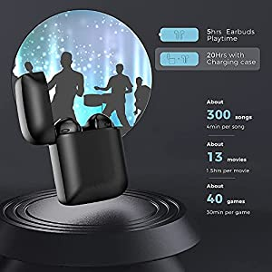 Wireless Earbuds Bluetooth 5.0 Headphones with Mobile Charging Case,IPX5 Waterproof,3D Stereo Air Buds in-Ear Ear Buds Built-in Mic,Pop-ups Auto Pairing Airpods Android iPhone Apple Earbuds (Black)