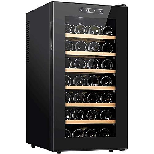 Enfriador de vino Refrigerador de vino termoeléctrico independiente Bar en casa Refrigerador de vino tinto/blanco Estantes de madera de haya Pantalla digital Funcionamiento silencioso 12 botellas