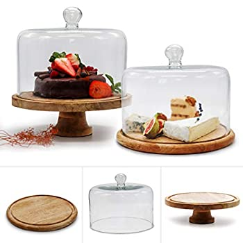 New Arrival  3 in 1 Cake Stand wood Set of Raised Mango Wood Cake Stand & Flat Round Wooden Cake Stand Rustic cake stand with dome Wedding Cake Stand with Lid Food Display Handcrafted in India
