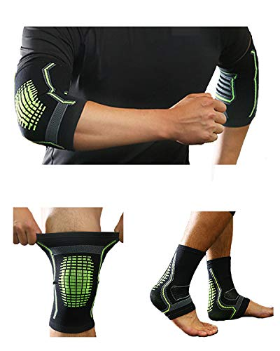 Oohmy 6 Pieces of Brace Package Including Elbow, Knee and Ankle Braces (1 Pair Each), Compression Support Braces for Running, Basketball, Football, Weightlifting, Gym, Workout, Sports (Green, L)