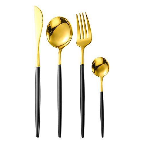 GrandGift Acero Inoxidable Dorado Cuchillería Conjunto Steak Knifek Tenedor Cuchara De Cuchillo De La Cena Vajilla Vajilla Cena Set