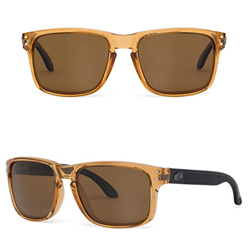 Bnus italy made classic sunglasses corning real glass lens w. polarized option (Crystal Brown / B15 Polarized, Polarized Size:56mm(M))