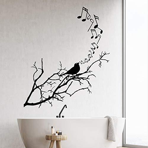 Songbird vogel op tak notities muziek Vinyl muur Decal Home Decor Woonkamer Art muurschildering verwijderbare muurstickers 58x38cm