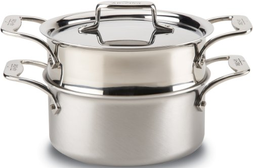 All-Clad BD55303 D5 Brushed 18/10 Stainless Steel 5-Ply Bonded Dishwasher Safe Casserole with Lid and Steamer Cookware, 3-Quart, Silver -