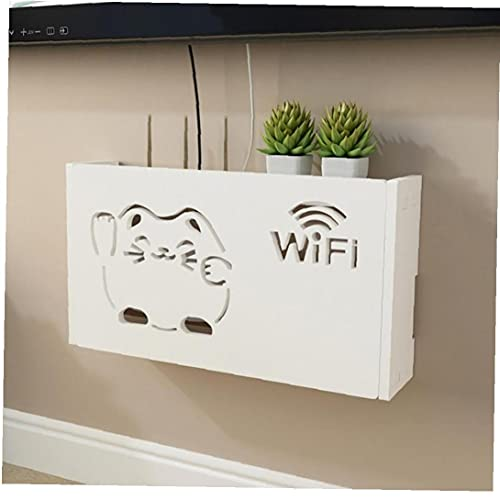 Blanco WiFi Router Cajas De Almacenamiento Cable Enchufe Enchufe Alambre Estante Montado En La Pared Rack 1pc (l Fortune Cat)