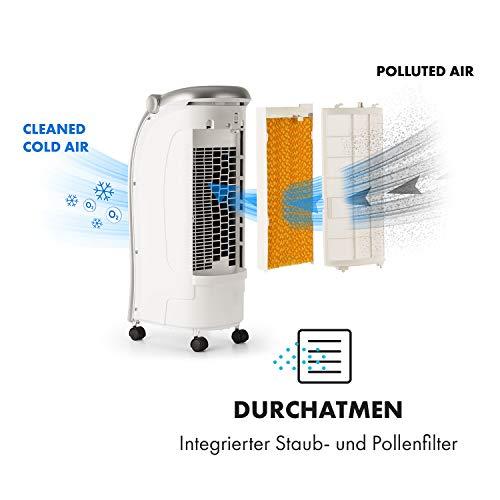 Klarstein Maxfresh WH Luftkühler-Ventilator-Kombination mit drei Leistungsstufen • niedriger Energieverbrauch • Bodenrollen • Lammellen-Schwenkfunktion • inkl. Fernbedienung und zwei Eis-Packs • weiß - 4